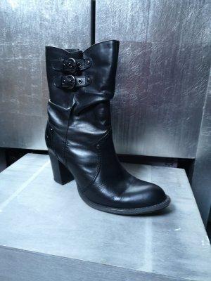 Dockers Stiefeletten mit Label High Heels schwarz Gr 38 Stiefel Ankle Boots