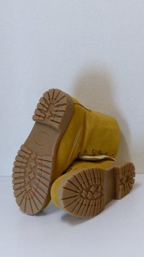 Bottine d'hiver jaune foncé-beige cuir