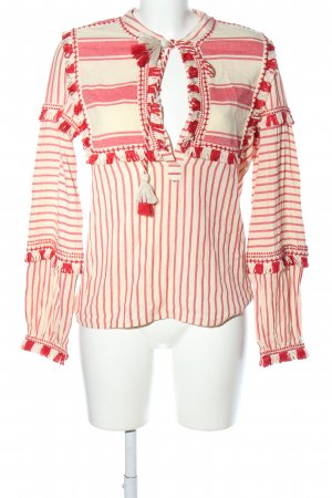 Dodo Bar Or Langarm-Bluse creme-rot Streifenmuster Casual-Look