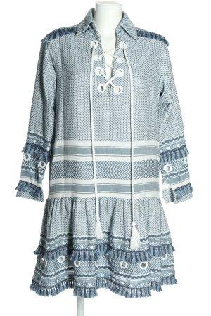 Dodo Bar Or Robe à volants bleu-blanc motif graphique style décontracté