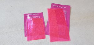 Porte-cartes rose-turquoise