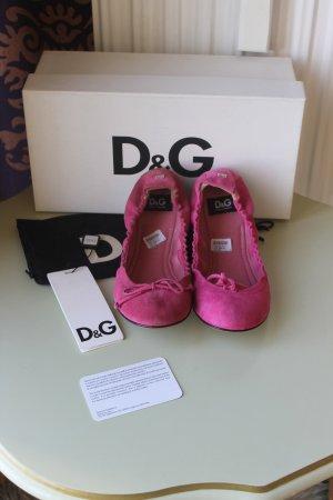 Dolce & Gabbana Składane baleriny różowy Skóra