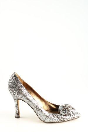 Dolce & Gabanna High Heels silberfarben abstraktes Muster Elegant