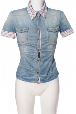 Dolce & Gabanna Jeansbluse blau-pink Streifenmuster Casual-Look
