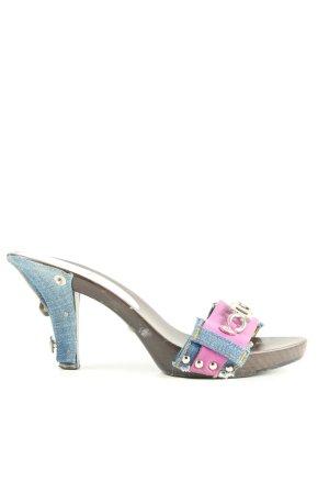 Dolce & Gabbana Klapki na obcasie różowy-niebieski Imprezowy wygląd