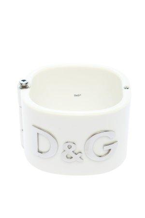 Dolce & Gabbana Brazalete blanco-color plata estampado temático look casual