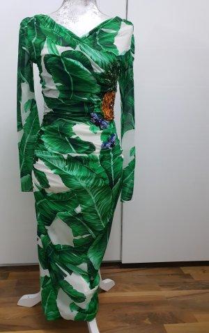 DOLCE & GABBANA Banana leaf-print embellished dress