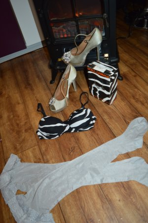 Dolce&Gabbana BH balconnet zebra 70B 32B schwarz weiß animal bra push up D&G NEU