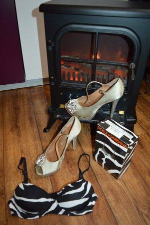 Dolce&Gabbana BH balconnet zebra 75C/34C schwarz weiß animal bra push up D&G NEU
