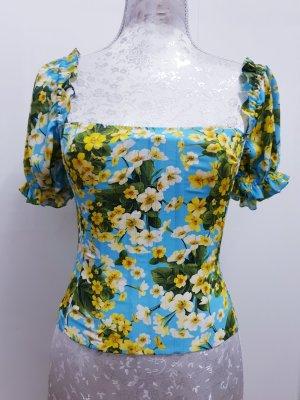 Dolce Gabbana Bustier Crop Top Bluse mit Flowerprint