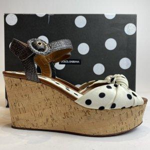 Dolce & Gabbana Platform Sandals white-black cotton
