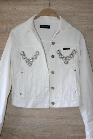 Dolce & Gabbana Veste en jean blanc-argenté