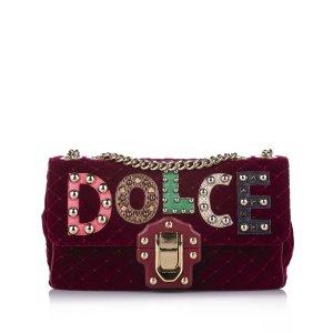 Dolce&Gabbana Embellished Lucia Velvet Crossbody Bag