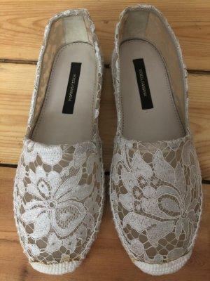 Dolce & Gabbana espadrilles lace spitze nude Creme Platform