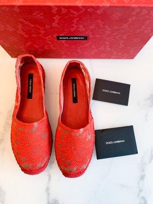 Dolce & Gabbana Mokasyny ceglasty-czerwony Bawełna