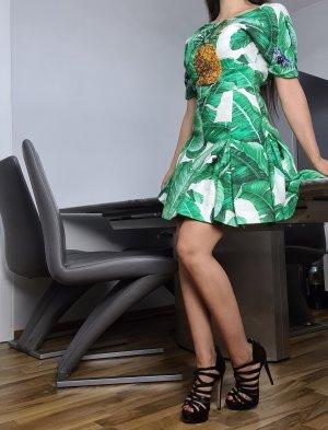 Dolce & Gabbana Sukienka z baskinką biały-zielony