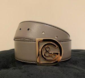Dolce & Gabbana Cinturón de cuero gris antracita
