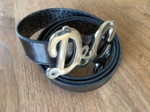Dolce & Gabbana Cinturón de cuero marrón-negro-marrón oscuro