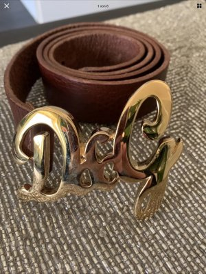 Dolce & Gabbana Leather Belt gold-colored-dark brown