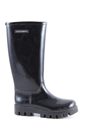 Dolce & Gabbana Gumowe buty czarny W stylu casual