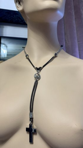 Dolce & Gabbana Halskette D&G Leder schwarz