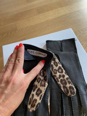Dolce & Gabbana Gants en fourrure noir-marron clair