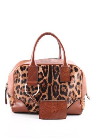 Dolce & Gabbana Handtasche braun-schwarz Leomuster Business-Look