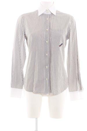 Dolce & Gabbana Hemd-Bluse weiß-braun Streifenmuster Casual-Look