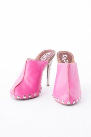 DOLCE & GABBANA - High-Heel Clogs aus Leder Pink Gr. 35,5