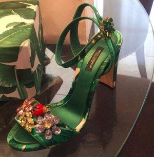 Dolce & Gabbana Sandały na obcasie zielony Tkanina z mieszanych włókien