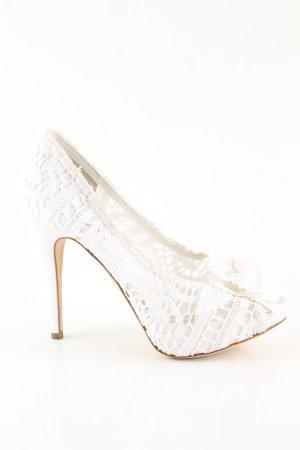 Dolce & Gabbana High Heels weiß Blumenmuster Business-Look