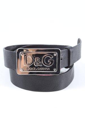 Dolce & Gabbana Heupriem zwart-zilver casual uitstraling