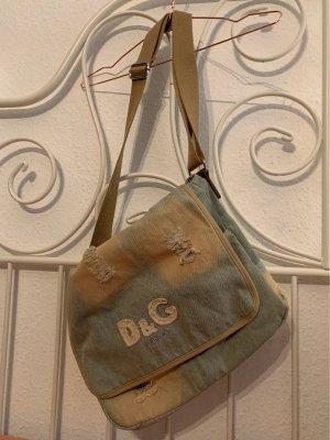 Dolce & Gabbana Uniwersytecka torebka błękitny-jasnobeżowy Bawełna