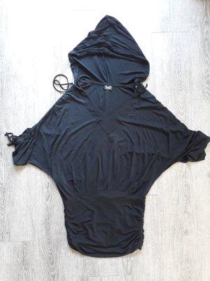 Dolce & Gabbana Kapuzen-Kleid Minikleid gerafft kurz D&G Kurzarm Fledermausärmel 80ies schwarz Gr. M