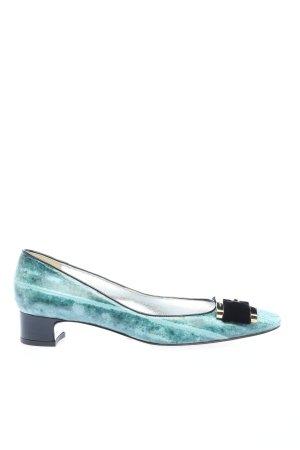 Dolce & Gabbana Escarpin compensé turquoise imprimé allover style d'affaires
