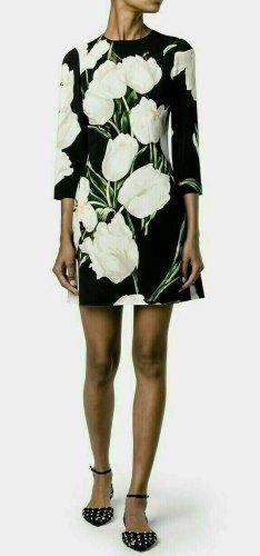 Dolce & Gabbana Robe trapèze multicolore soie