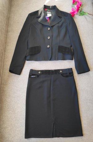 Dolce Gabbana Kostüm schwarz edel bunt Größe 36/38