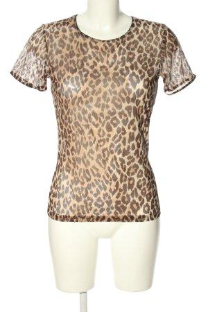 Dolce & Gabbana Kurzarm-Bluse wollweiß-braun Leomuster Casual-Look