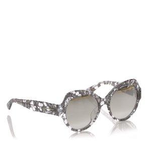 Dolce&Gabbana Lace Print Round Mirror Sunglasses