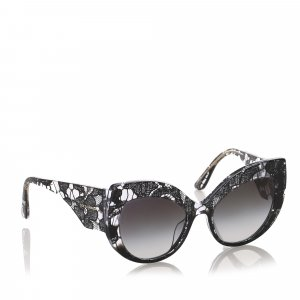 Dolce&Gabbana Lace Print Round Tinted Sunglasses