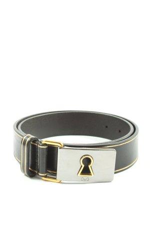 Dolce & Gabbana Ledergürtel schwarz-goldfarben Casual-Look