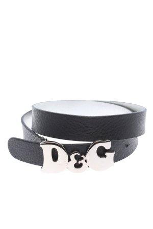 Dolce & Gabbana Cinturón de cuero de imitación negro look casual