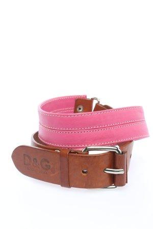 Dolce & Gabbana Lederimitatgürtel pink-braun Casual-Look
