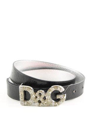 Dolce & Gabbana Lederimitatgürtel schwarz-goldfarben Casual-Look