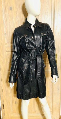 Dolce & Gabbana Leather Coat black leather
