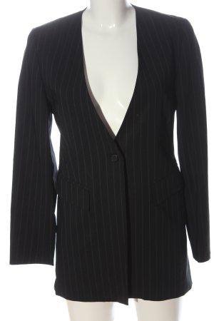 Dolce & Gabbana Lange blazer zwart-lichtgrijs gestreept patroon zakelijke stijl