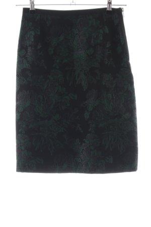 Dolce & Gabbana Midirock schwarz-grün Blumenmuster Business-Look