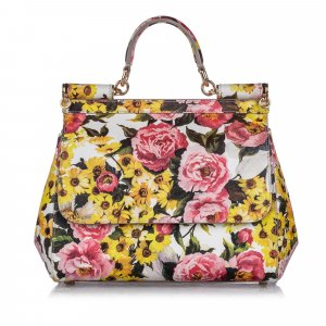 Dolce&Gabbana Miss Sicily Floral Leather Satchel