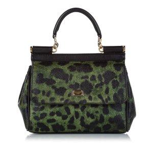 Dolce & Gabbana Sacoche vert foncé cuir