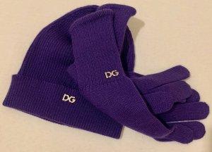 Dolce & Gabbana Guantes de punto color plata-violeta oscuro